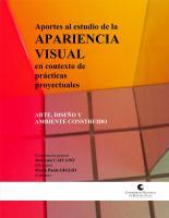 Cubierta para Aportes al estudio de la apariencia visual en contexto de  prácticas proyectuales: arte, diseño y ambiente construido